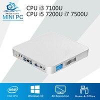Процессор Intel мини компьютер Вентилятор охлаждения Core i3 7100U i5 7200U i7 7500U Windows 10 4 К Mini PC 8 ГБ 16 ГБ Оперативная память настольный компьютер
