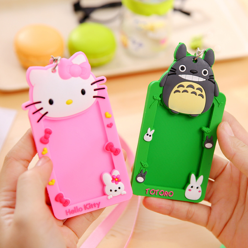 1pcs Cute Cartoon Silicone Card ID Holder With String Credit Card Bus Card Case Key Holder Ring Luggage Tag Trinket for students все цены