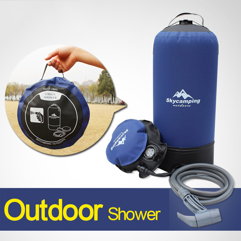 11L PVC Lightweight Outdoor Inflatable Shower Pressure Shower With Foot Pump Pressure Shower Water Bag For