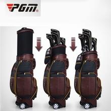 PGM valódi bőr Golf repülés táska tehén bőr Golf táskák Golf Ball cipők Clubs Ruhák Márka Professzionális Golf Gun Bag