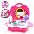 Montessori del cabrito suave pizza/maquillaje/bbq/médico clásico juguete pretend play set no electrónicos handcarry caja de plástico de diseño