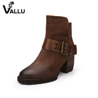 New Style Women' s Shoes Genuine Leather Ankle Boots High Heels Low Cut Fashion Retro Buckle Handmade Ladies Boots