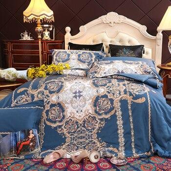 Egyptian cotton Queen King size Bedding Set   print Modern Pastoral bed set cotton Bedsheets Duvet quilt cover set