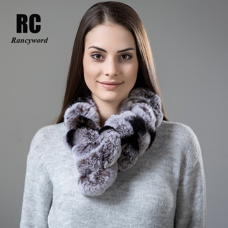 [Rancyword] Women Scarf Winter real rabbit fur Scarves Knitted natural fur Collar Warm Neck scarf Pompoms 2017 Brand New RC1338