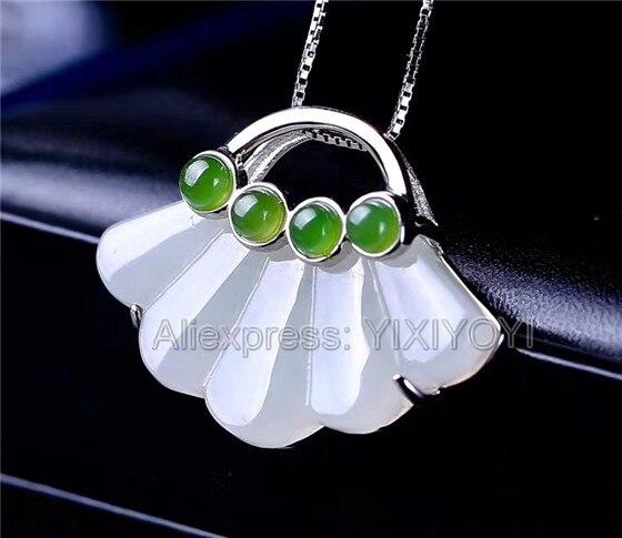 925 Sterling Silver White Green HeTian Jade Cute Fan Design Dangle Lucky Pendant Chain Necklace Woman