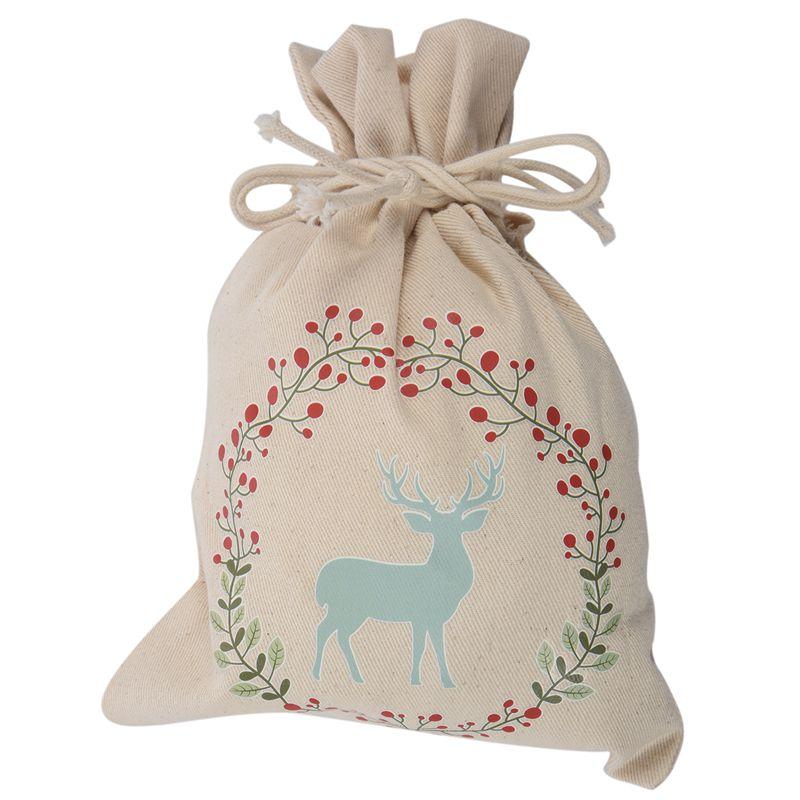1 Meter Creamy-white Canvas Creative Christmas Christmas Deer Pattern Storage Bag / Drawstring Bag Pocket / Gift Candy Bag Siz