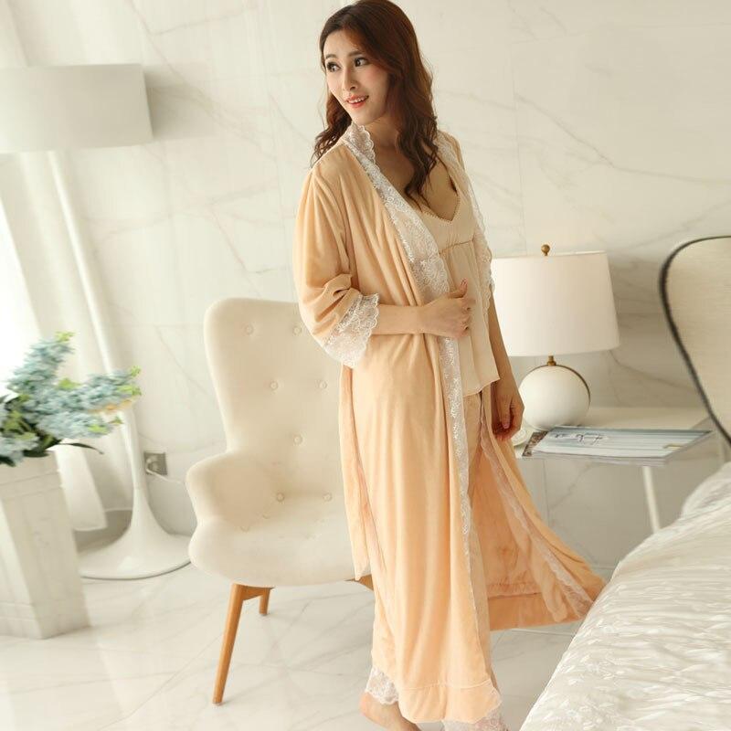 New Winter Women Princess Nightgown Velvet Pajamas Pants Set Naked Pink Sleepwear Home Cloth 3 pieces Set pyjamas Free Shipping