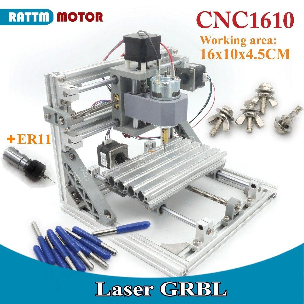 Ukraine tva gratuite! 1610 GRBL contrôle bricolage mini CNC machine zone de travail 160x100x45mm 3 axes Pcb fraiseuse, routeur en bois, v2.4