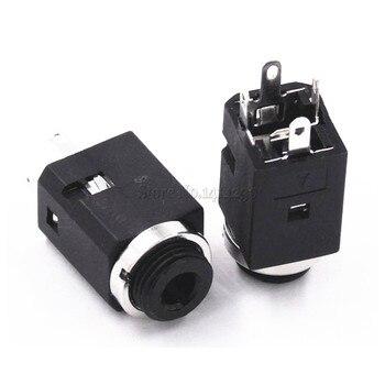 5Pcs 3.5MM Vertical socket 4Pin Stereo Female Socket Jack with Screw 3.5 Audio Headphone Connector PJ-341 3 Poles Earphone Hole
