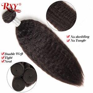 Image 3 - RXY mechones de cabello brasileño con mechones de cabello humano recto y rizado Frontal con 3 mechones de cierre con pelo Remy Frontal de encaje