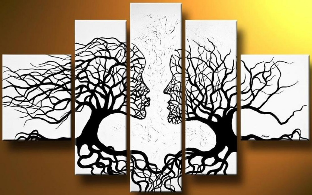 Us 45 9 49 Off Art Hand Painted Mordern Oil Paintings Wall Art Red Kiss Tree Human Body Abstract Home Landscape Home Decor On Canvas In Painting
