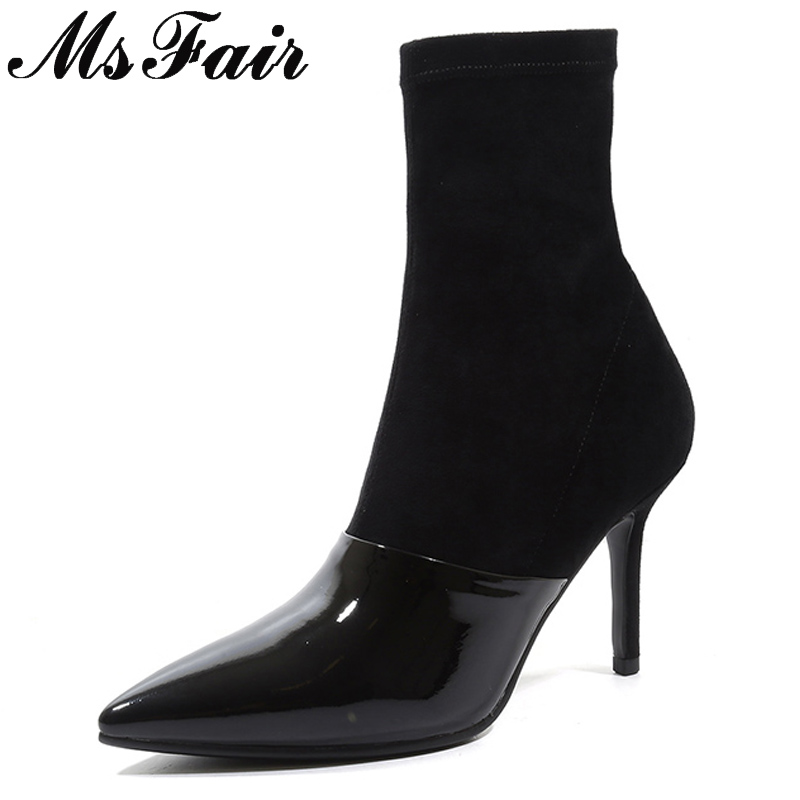 MSFAIR Pointed Toe Super High Heel Women Boots Fashion Zipper Ankle Boots Women Shoes Elegant Thin Heels Black Khaki Boots Shoes ouqinvshen pointed toe thin heels women boots ladies super high heels ankle boots casual fashion butterfly knot women s boots