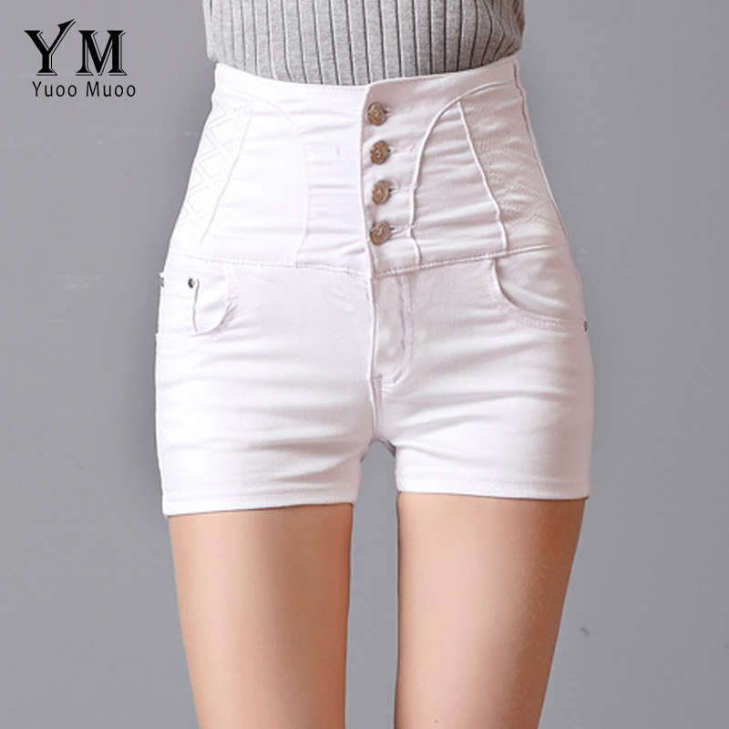YuooMuoo Women Fashion   Shorts   Summer High Waist White   Shorts   Brief 4 Buttons Design Brand Denim Jeans   Shorts   for Women