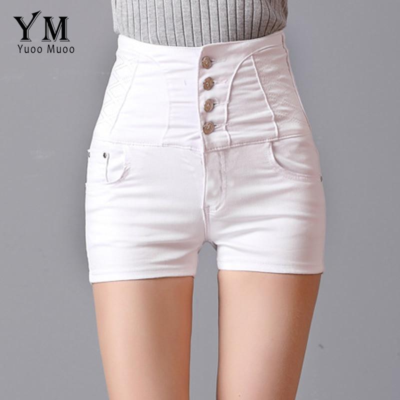 YuooMuoo Women Fashion   Shorts   Summer High Waist White   Shorts   Brief 4 Buttons Design Brand Denim Jeans   Shorts   for Women