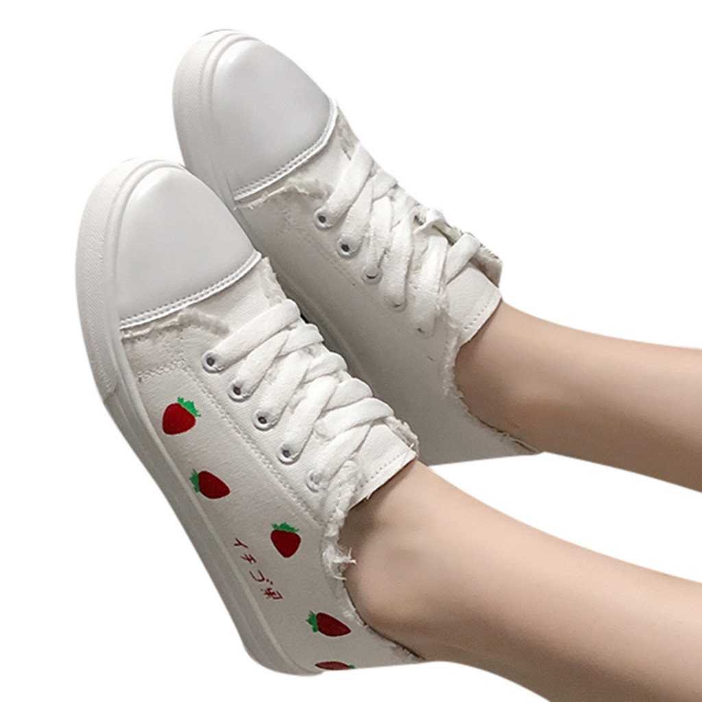 2019 Fashion Flats sneakers women's Fashion Casual Strawberry Lace Up Canvas Sneakers Student Sport Shoes For Women Casual Shoes(China)