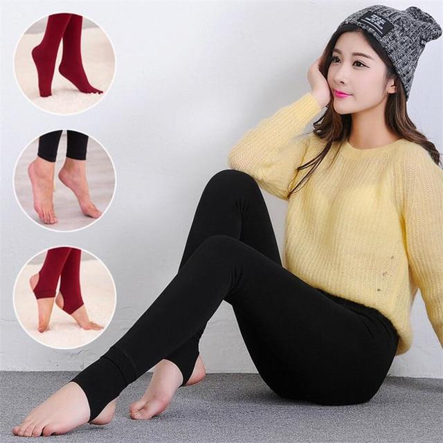 2020 Women Autumn Winter Thick Warm Legging Brushed Lining Stretch Fleece Pants Trample Feet Leggings High Elasticity Leggings 2