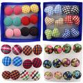 Bluelans 6 Pairs Vintage Colorful Cloth Button Plastic Pin Ear Studs Earrings Jewelry