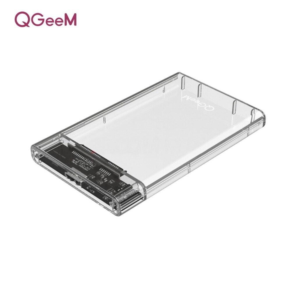 Caja de disco duro QGeeM HDD 2,5 pulgadas SATA a USB 3,0 SSD adaptador caja de disco duro para Samsung Seagate SSD 1 TB 2 TB funda externa HDD