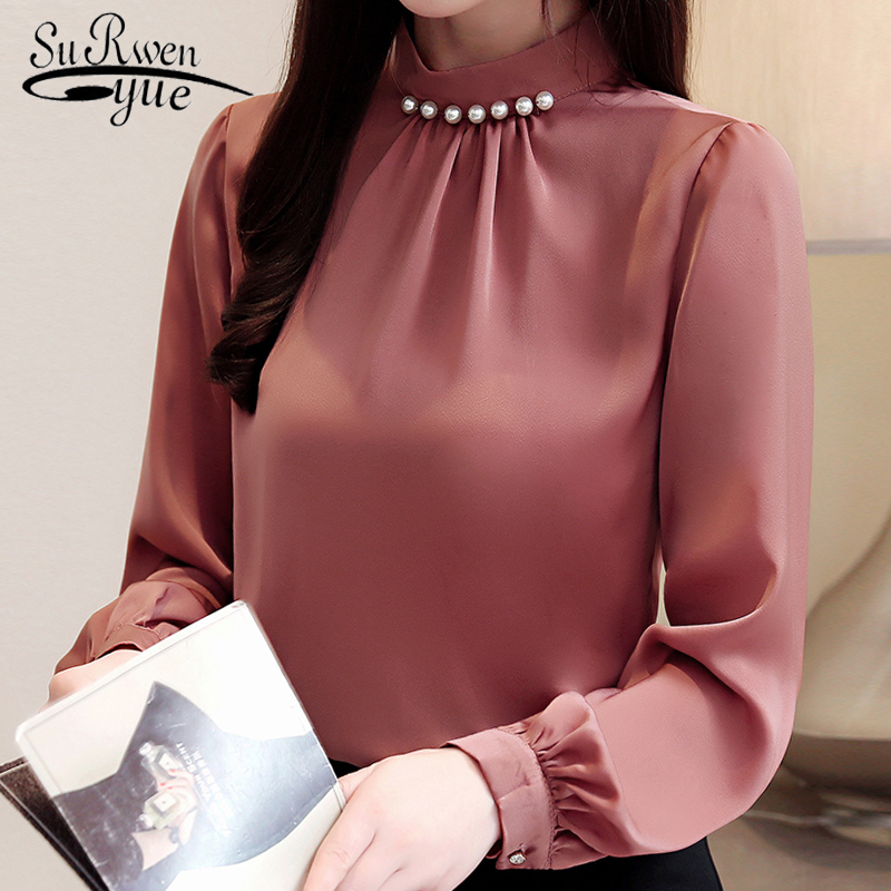 Fashion Womens Tops And Blouses Beading Stand Collar Office Blouse Women Chiffon Blouse Shirt Long Sleeve Women Shirts 2553 50