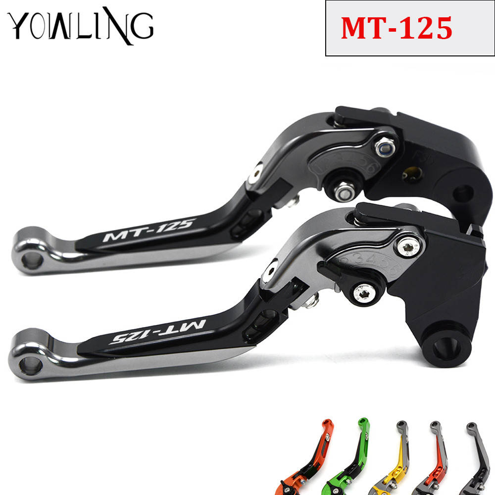 Motorcycle Accessories CNC Folding Extendable Adjustable Brakes Clutch Levers For YAMAHA MT125 MT 125 MT-125 2015 2016 fxcnc universal stunt clutch easy pull cable system motorcycles motocross for yamaha yz250 125 yz80 yz450fx wr250f wr426f wr450