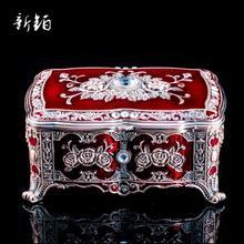 Европейская Шкатулка принцессы в стиле ретро, шкатулка для хранения ювелирных изделий, шкатулка-органайзер из сплава, ручная роспись, подарок на день рождения, свадьбу, Z061