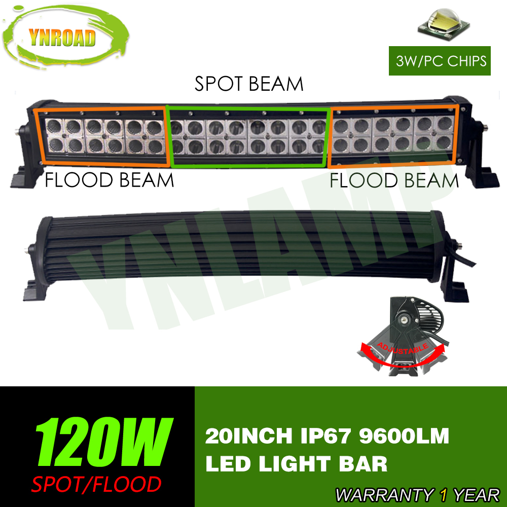YNROAD 120W 20inch Curved LED Work Light Bar Spot Flood Combo Beam 10V-30V SUV ATV 4x4 Truck 4WD Offroad Light Bar 9600LM