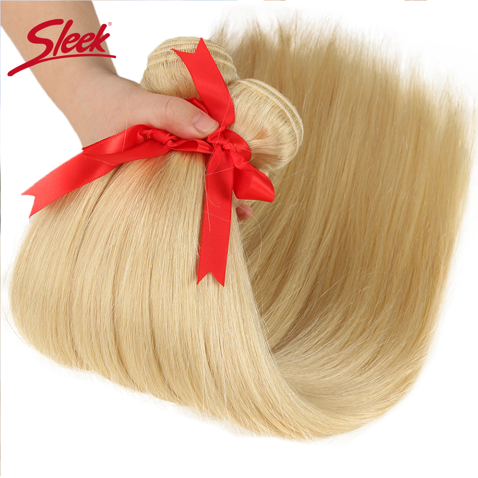 Image 2 - Sleek Colorful Hair Mink Blonde 613 Bundles With Lace Frontal Brazilian Body Wave2 3 4 Bundles With Frontal Remy Hair Extension-in 3/4 Bundles with Closure from Hair Extensions & Wigs