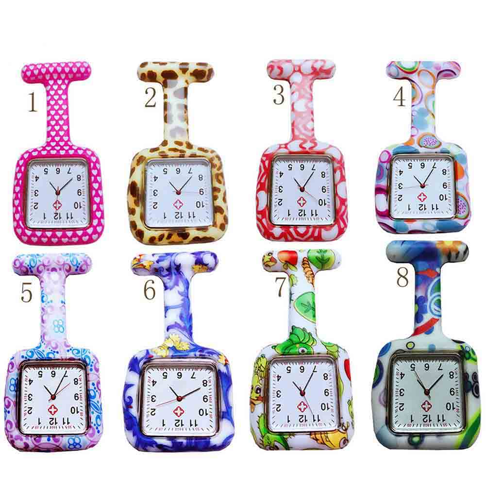 Nurse Silicone Watches Square Dial Quartz Nurse Watch Brooch Doctor Hanging Watches TT@88