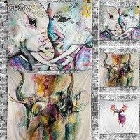 Elephant Tapestry Colored Printed Decorative Mandala Tapestry Indian 130cmx150cm Boho Wall Carpet