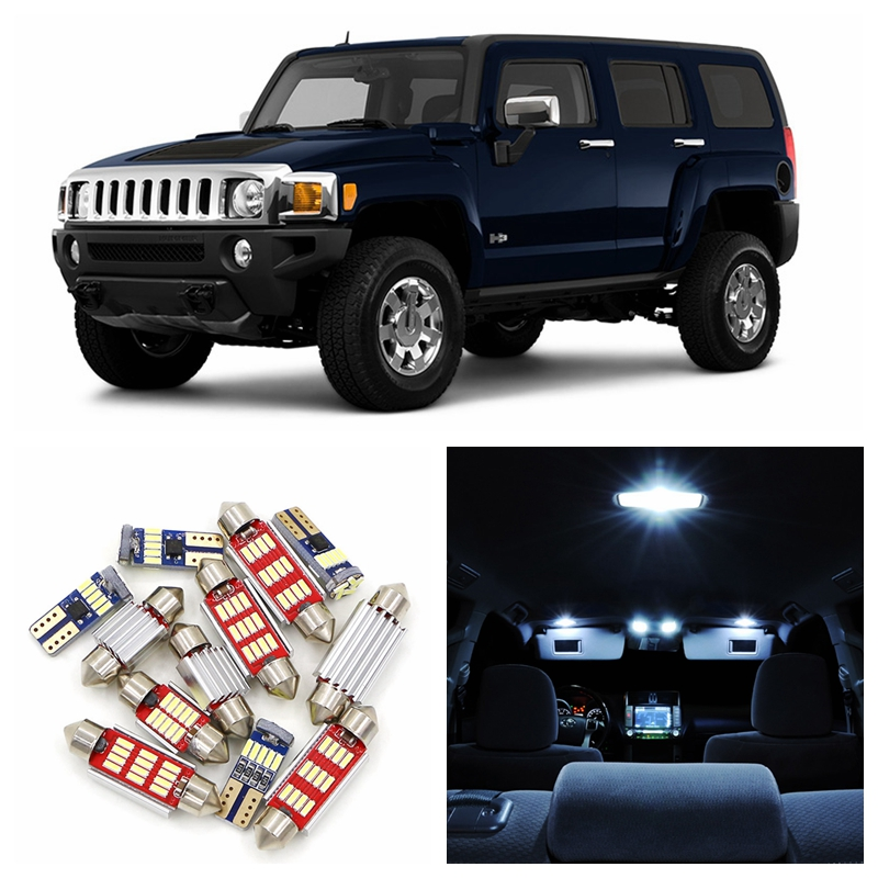 13pcs Canbus No Error White Car Super Bright LED Light Bulbs Interior Package Kit For 2007-2010 Hummer H3 Map Dome Trunk Lamp 2pcs 12v 31mm 36mm 39mm 41mm canbus led auto festoon light error free interior doom lamp car styling for volvo bmw audi benz