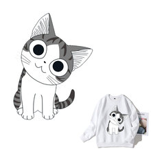 Cute Cat Cartoon Animal Iron On Patches Clothes Sticker DIY T-shirt Stripes hippie Thermal Heat Transfer for Printed E