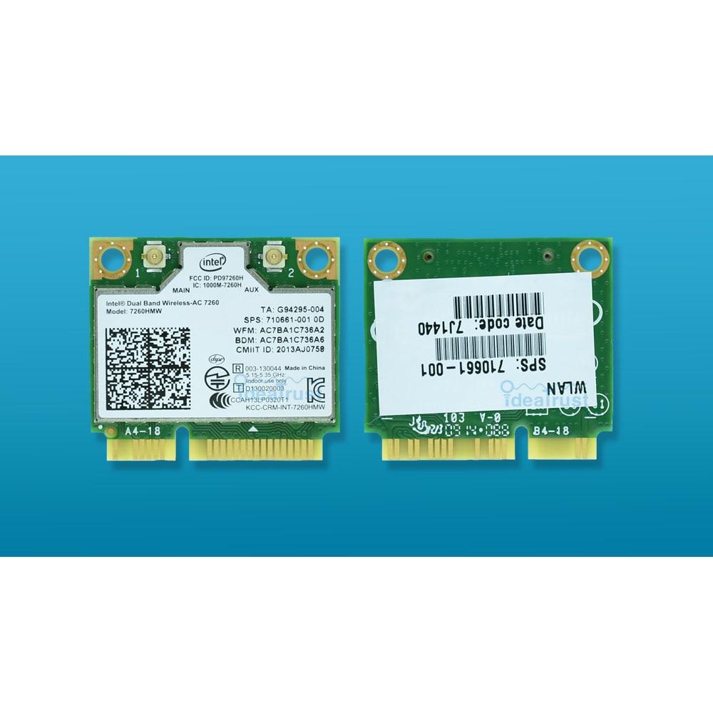 Para intel Dual Band Wireless AC 7260 Intel7260 7260HMW 7260AC 2,4 y 5g 867 M BT4.0 MiniPCIe WiFi inalámbrico tarjeta de red