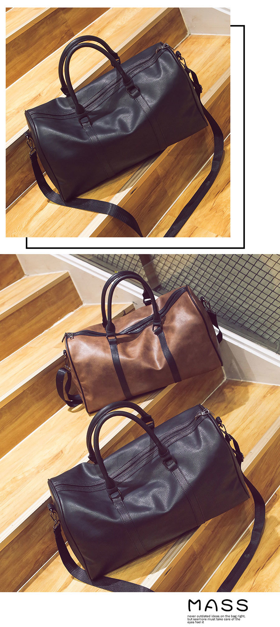 Topdudes.com - Large Capacity Vintage PU Leather Travel Bag