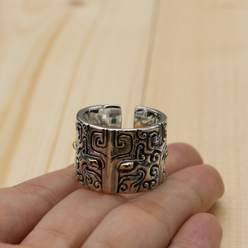 Tibetan Style Sterling Silver Open Ended Wide Surface Ring Men's National Style Totem Retro Thai Silver Ring style national каталог