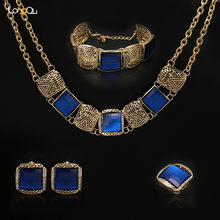 New fashion Blue Red Square Artificial Stone Beads Africa Nigeria wedding jewelry set India Jewelry Necklace Earrings Ring(China)