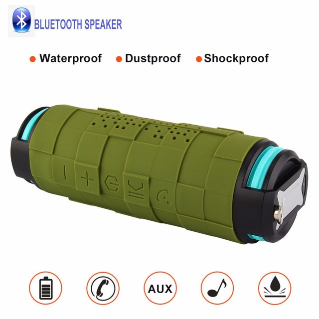 newest 21069 2fc7f US $49.99 |Green Mini Bluetooth Outdoor Column Waterproof Shockproof  Wireless Portable Sport Speaker For iPhone X-in Portable Speakers from  Consumer ...