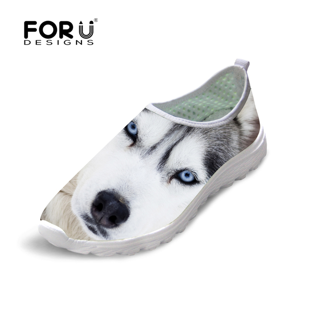 FORUDESIGNS Summer Spring 3D Animal Casual Shoes Women Beach Flats Shoes Cool Husky Dog Light Shoes Breathable Mesh Shoes Unisex