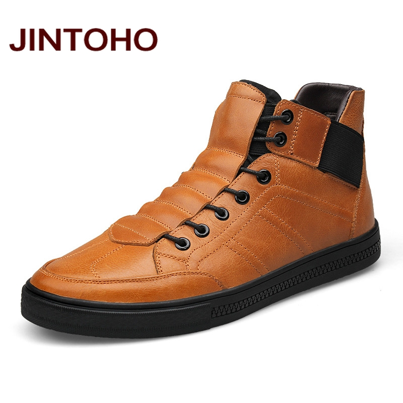 JINTOHO High Quality 100 Genuine Leather Men Ankle Boots Italian Real Leather Men Boots Men Winter
