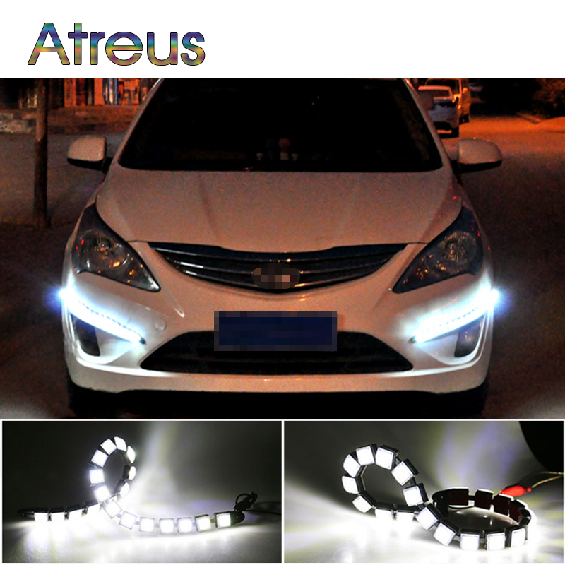 Atreus Car LED Day Lights 12V For Toyota corolla rav4 Chevrolet cruze aveo Peugeot 206 307 207 accessories 1Pair DRL fog lamp