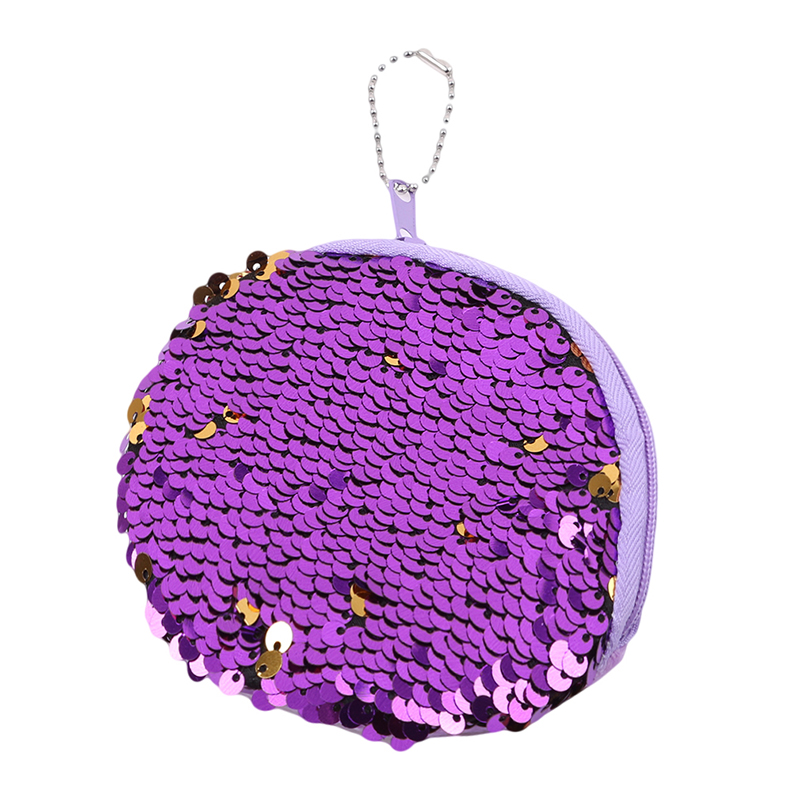 Vertrouwend Bling Sequin Dubbele Kleur Coin Bag Wallet Portemonnee Rits Ronde Clutch Oortelefoon Kabel Opslag Houder Kleine Sleutels Tas