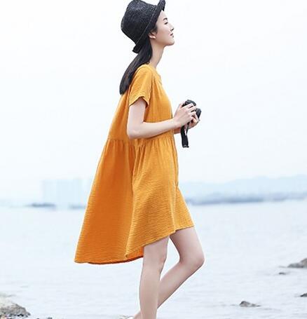 2018 Summer Women Short Sleeve Cotton Linen Asymmetrical Dressplus
