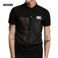 Spring Summer Men Short Sleeve polo shirt High Quality Mesh Splice Polo Shirts Punk Hip Hop Style Male Slim Fit Tees Shirt