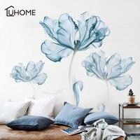 110x180 см большой синий цветок лотоса виниловый стикер с изображением Гостиная Спальня наклейки для домашнего декора Stikers настенная живопись ...