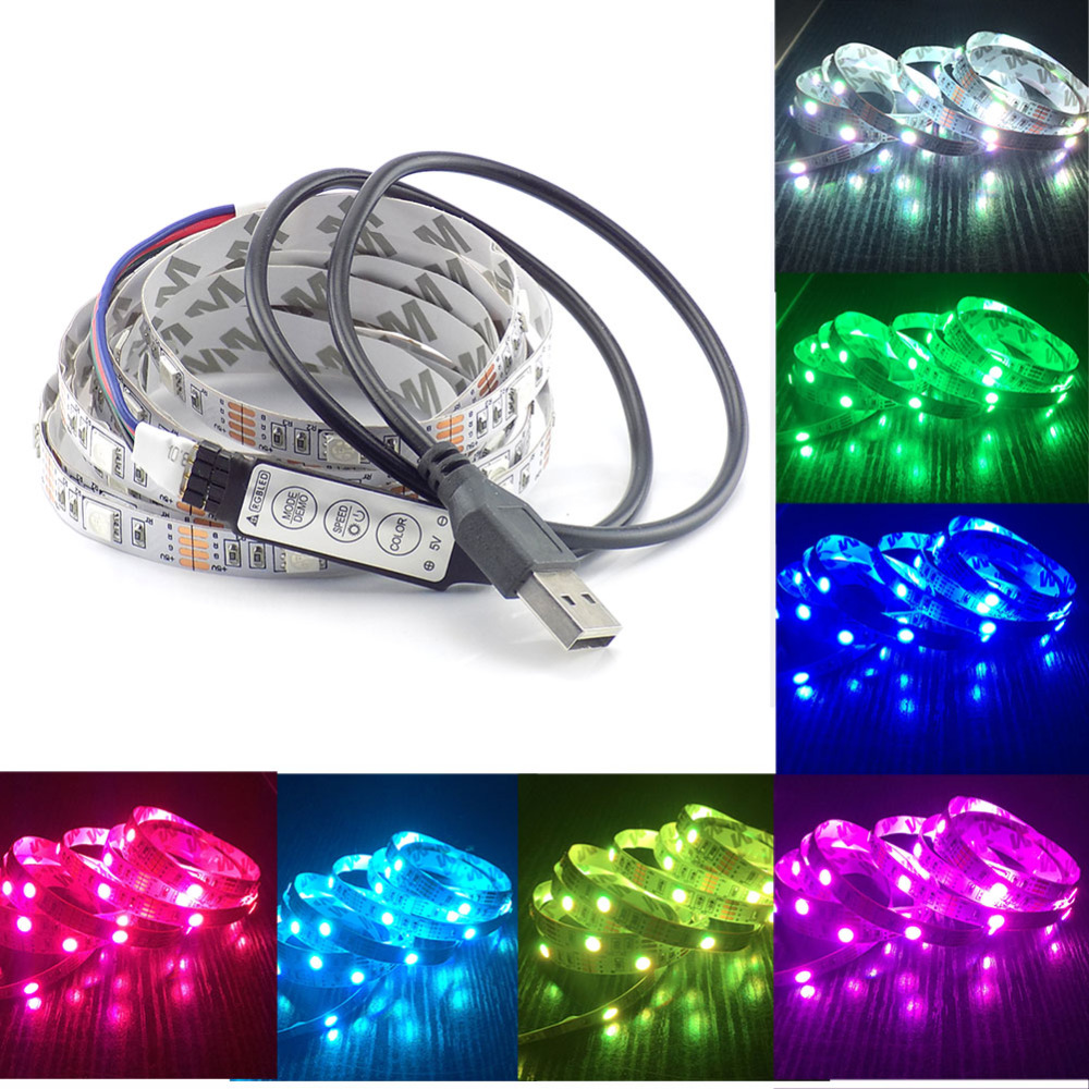 DC 5V USB Cable LED Strip Light Ledstrip 5050 Christmas Flexible Led Stripe TV Background Light RGB 3keys Mini Remote 50CM 1M 2M