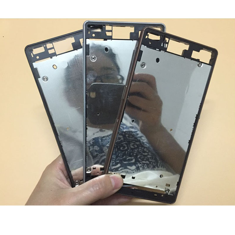 New Front Housing Bezel Middle Frame LCD Plate Cover For Sony Xperia Z3 Dual D6633 Case With Micro Charging Port Dust Plug