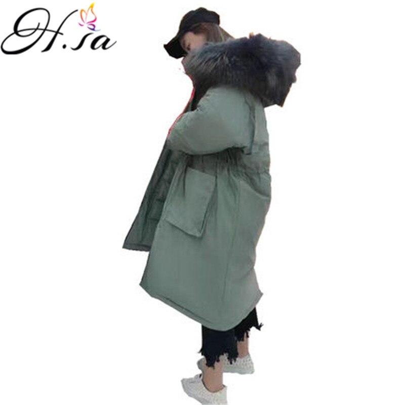 H. SA femme parkas vestes femme manteau d'hiver 2018 Nouveau Surdimensionné Manteau Capuche Fourrure Col En Coton Manteau Veste Longue Femme parkas