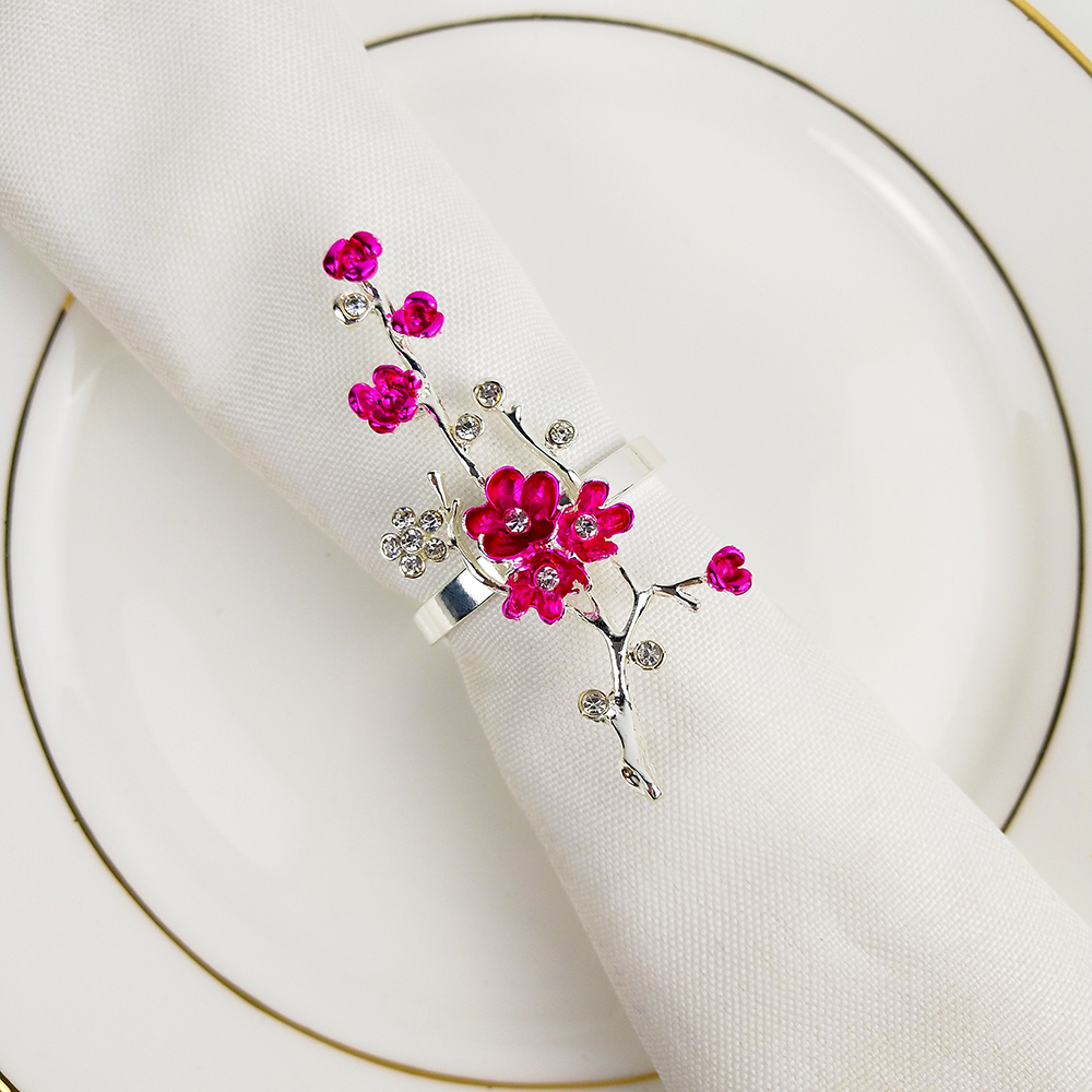 Exquisite Small Red Flower Napkin Buckle Hotel, Soft Dressing Table Napkin Ring Alloy Napkin Ring, Wedding Party Table