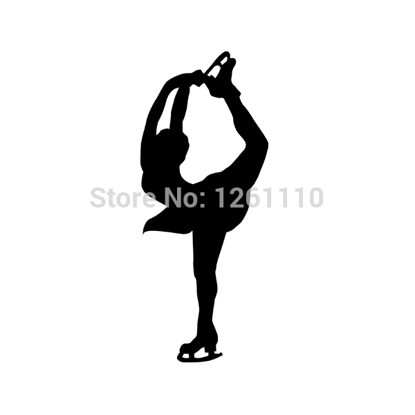 Vinyl Wall Decal Sport Silhouette Female Ice Figure Skating Version 1