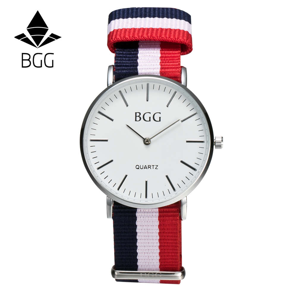 Classic Nylon stripes Watches 2016 BGG Luxury Brand Simple ultra thin Quartz Watch Men watch women Casual lovers Wristwatch classic simple star women watch men top famous luxury brand quartz watch leather student watches for loves relogio feminino