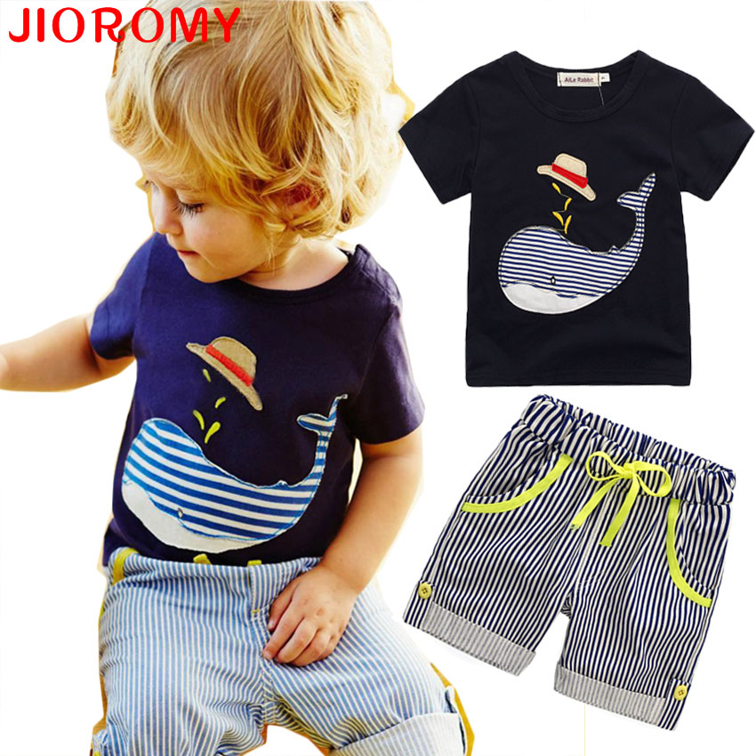 2017 Sale New Children s Clothing Boys Summer Whale T shirt and Striped Shorts Sports Suit